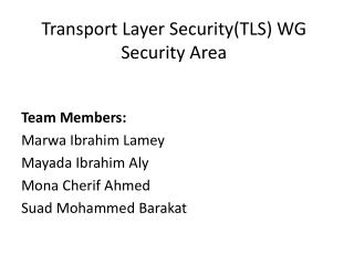 Transport Layer Security(TLS)  WG Security Area