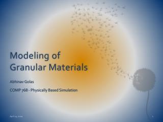 Modeling of Granular Materials
