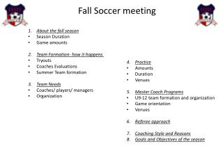 Fall Soccer meeting