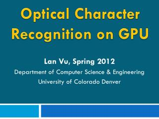 Optical Character Recognition on GPU