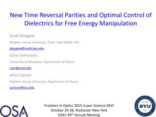 New Time Reversal Parities and Optimal Control of Dielectrics for Free Energy Manipulation