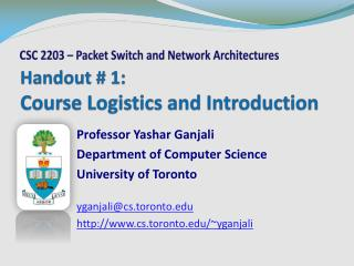 Handout # 1: Course Logistics and Introduction
