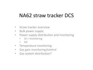 NA62 straw tracker DCS