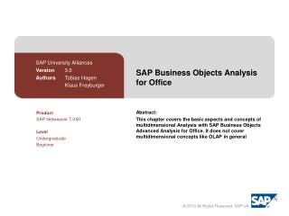 SAP  Business Objects Analysis  for  Office