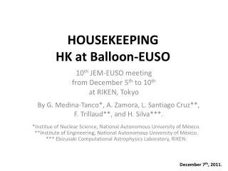 HOUSEKEEPING  HK at Balloon-EUSO