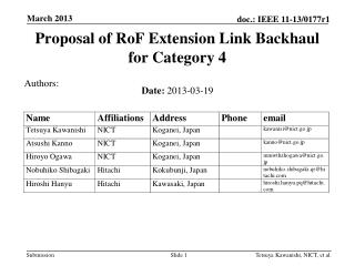 Proposal of RoF Extension Link Backhaul for Category 4