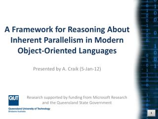 A Framework for Reasoning About Inherent Parallelism in Modern Object-Oriented Languages