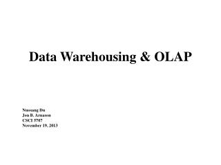 Data Warehousing & OLAP