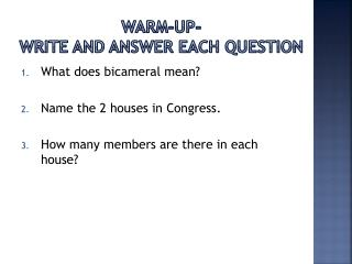 Warm-up-  Write and answer each question