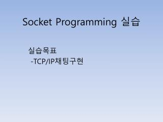 Socket  P rogramming  실습