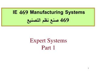 Expert  Systems  Part 1