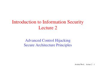 Introduction to Information Security Lecture 2
