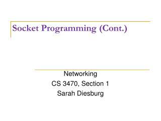 Socket Programming (Cont.)