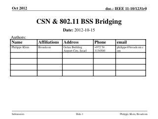 CSN & 802.11 BSS Bridging
