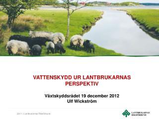 VATTENSKYDD UR LANTBRUKARNAS PERSPEKTIV Växtskyddsrådet 19 december 2012 Ulf Wickström
