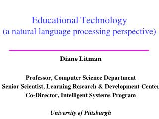 Educational Technology (a natural language processing perspective)