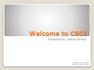 Welcome to CSCE