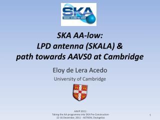 SKA AA-low:  LPD antenna (SKALA) &  path towards AAVS0 at Cambridge