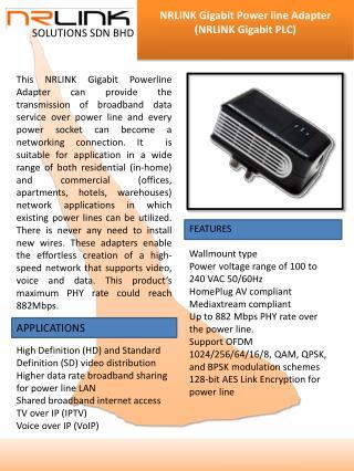 NRLINK Gigabit  Power line  Adapter (NRLINK Gigabit PLC)
