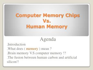 Computer Memory Chips  Vs.  Human Memory