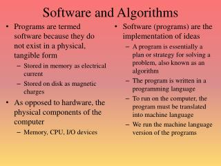 Software and Algorithms