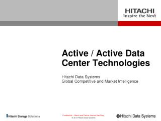 Active / Active Data Center Technologies � The Why