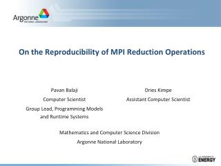 On the Reproducibility of MPI Reduction Operations