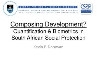 Composing Development? Quantification & Biometrics in South African Social Protection