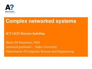 Complex networked systems