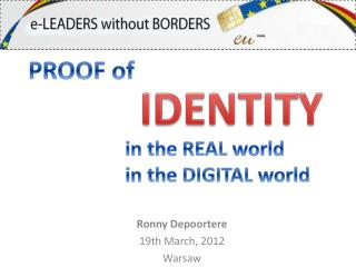 Ronny Depoortere 19th  March , 2012 Warsaw