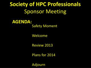 Society of HPC Professionals Sponsor Meeting