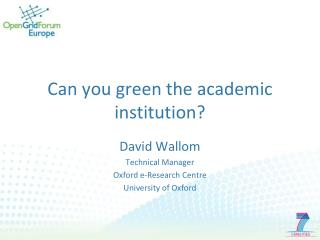 Can you green the academic institution?