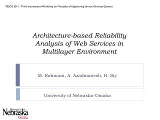 Architecture-based Reliability Analysis of Web Services in MultilayerEnvironment