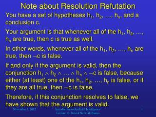 Note about Resolution Refutation