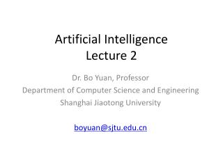 Artificial Intelligence Lecture 2