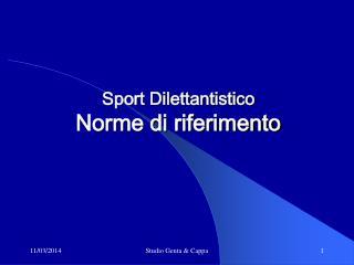 Sport Dilettantistico Norme di riferimento