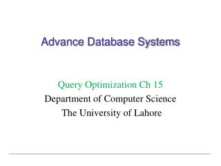 Advance Database Systems