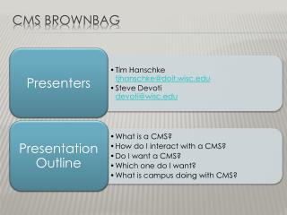 CMS  Brownbag