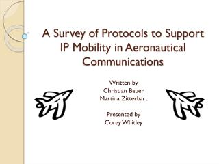 A Survey of Protocols to Support IP Mobility in Aeronautical Communications