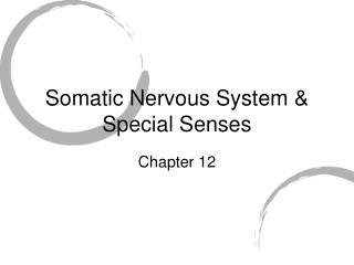 Somatic Nervous System & Special Senses