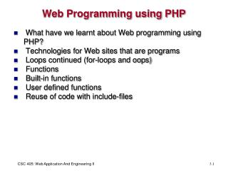 Web Programming using PHP