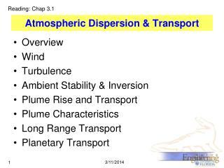 Atmospheric Dispersion  Transport
