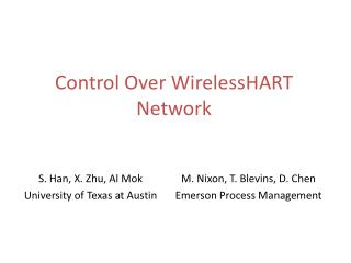 Control Over  WirelessHART  Network