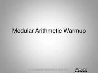 Modular Arithmetic  Warmup