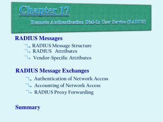 Chapter 17  Remote  Authentication Dial-In  User  Service (RADIUS)