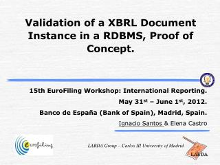 Validation of a XBRL Document Instance in a  RDBMS,  Proof of Concept.