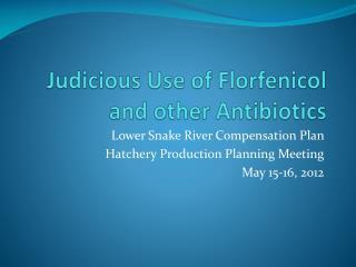 Judicious Use of  Florfenicol  and other Antibiotics
