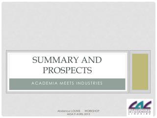 Summary and Prospects