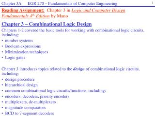 Chapter 3  – Combinational Logic Design