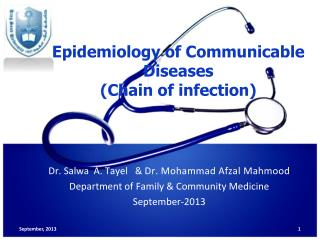 Epidemiology of Communicable Diseases (Chain of infection)
